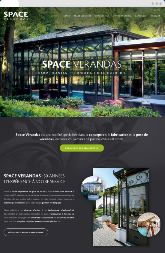 Page d'accueil du site Space Verandas en version desktop