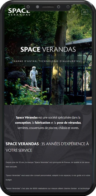 Page d'accueil du site Space Verandas en version mobile