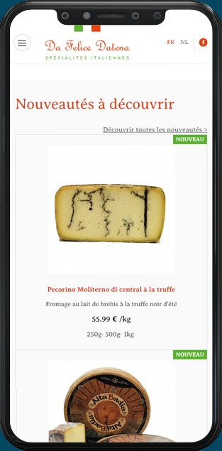 Site web Da Felice Datena version mobile